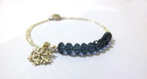 Snowflake Bracelet with Navy Blue Czech Glass Bea by littlepieceswithlove