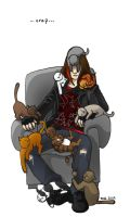 Warren and cats by ihni
