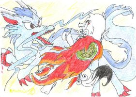 Okami dragon Fight by Petrotasia