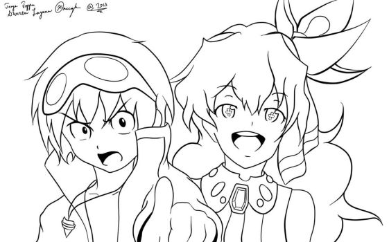 Simon and Nia Lineart by JkCm6594
