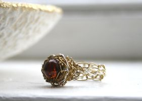 Wire Crochet Amber Ring by WrappedbyDesign