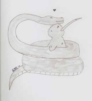 Snake and Kiwi love by Madre-suicide