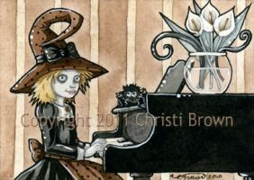 Piano Playing Witch ACEO by candcfantasyart