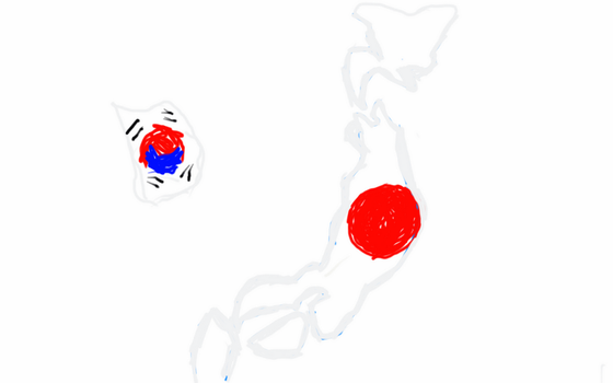 Japan and South Korea flag map by UNPSTcommandermark