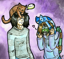 CATS ON OUR HEADS by Keetah-Spacecat