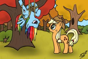 AppleJack and Rainbow Dash by SuperChargedBronie