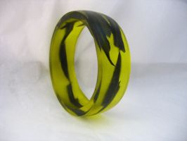 Black yellow wide resin bangle by TopazTurtle
