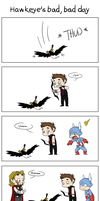 Hawkeye's bad, bad day by caycowa