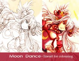 Moon dance-lineart by Red-Priest-Usada
