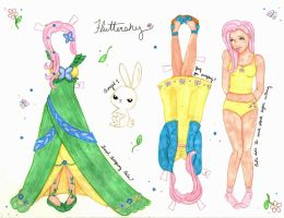 Fluttershy Paper Doll by WhiteHeather