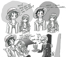 Luffy x Nami , ice cream by heivais