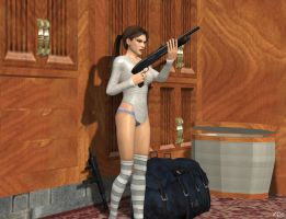 We going to the mission. Lara tests Mossberg 500 by DoppieCroft