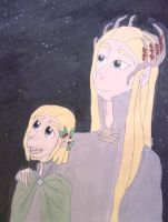 King Thranduil and young prince Legolas by Rukiaoceanspirit1