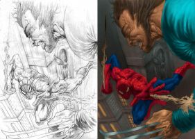 spiderman VS wolevrine by clickstu75