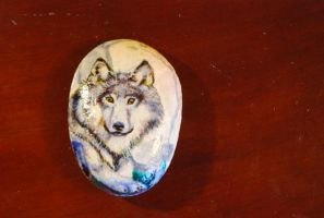 Rock Painting Wolf by rhythmicStars