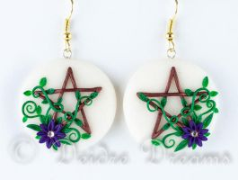 Full Moon Wishes Pentacle Earrings by DeidreDreams