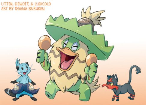 Pokemon Drawz Day 3: Dewott Ludicolo Litten by OgawaBurukku