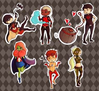Young Justice Chibis by morningdreams
