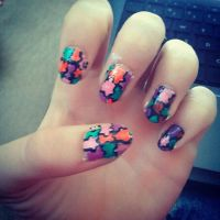 puzzle piece nails by haley-loves-you