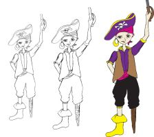 Pirate Girl Process by esmeone