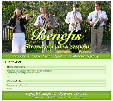 Benefis - Website layout by manoftheoak