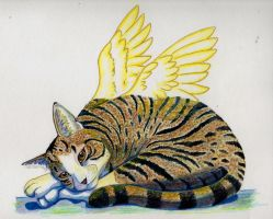Traditional Media: Angel Puss by The-Hare