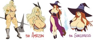 Dragon's crown - Amazon and Sorceress concepts by DoctorZexxck