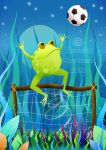 Soccer frog at night by HannahChapman