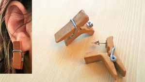 Fake Pinching Clothespin Earrings (tutorial) by NerdEcrafter
