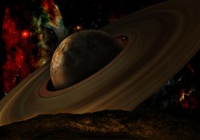 planet with rings and moons by Johndoop