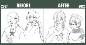 sketch. before and after I by maioceaneyes