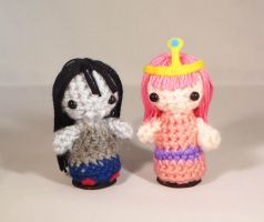 Princess Bubblegum and Marceline Amigurumi! by StitchyGirl