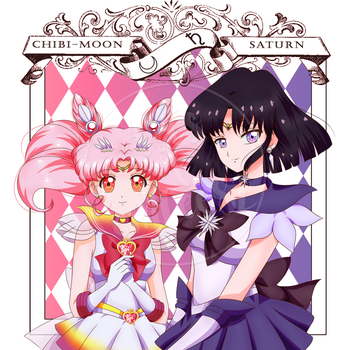 Sailor Chibi-Moon and Sailor Saturn (My Style) by eMCee82