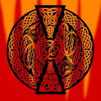 Celtic Knotwork Dragons - Fire by foxvox