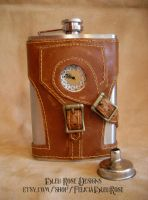 Steampunk Working Clock Flask by Justenjoyinglife