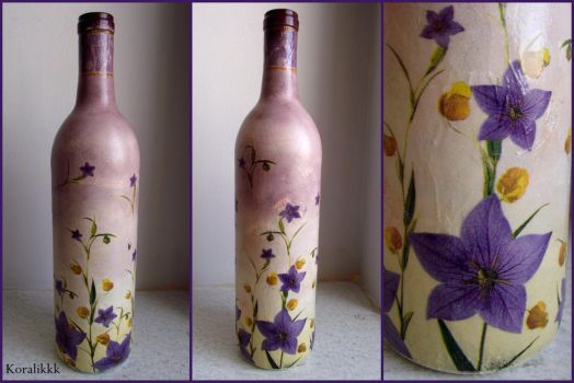 Violet bottle with flowers by Koralikkk