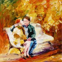 KISS ON THE BENCH by Leonid Afremov by Leonidafremov