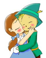 Dorothy and Scarecrow kiss by kary22