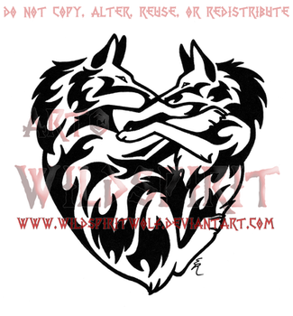 Wolf And Fox Flame Heart Design by WildSpiritWolf