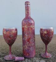 Bottle And Glasses decoupage by naraosart