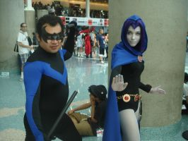 Nightwing and Raven by Steve-ish