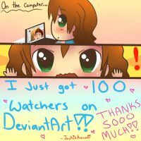 100 Watchers!!! by jackiekawaii