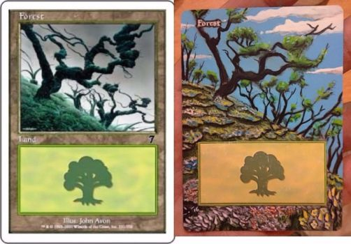 MtG extended and custom art forest 7th edition by BlackBullo