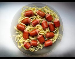 Pasta with sausage. After by Lady-Integra