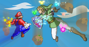 Mario VS Link by BloodyCoat