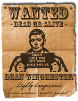 Dean Winchester Wanted by the-impalas-backseat