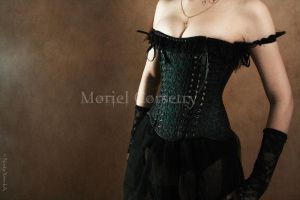 Overbust satin corset with lace overlay by MorielCorsetry