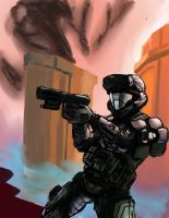 Artist study - Isaac Hannaford (ODST soldier) by Artsyshep