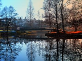 A bridge, the river and reflections by patrickjobst