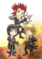 Chibi Roxas Axel  and Xion by chibimonkies